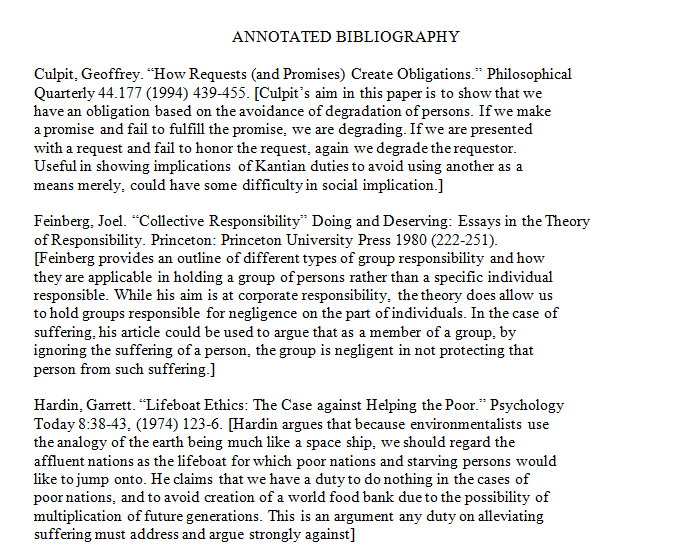 Annotated bibliography for the sources in your personal responsibility essay